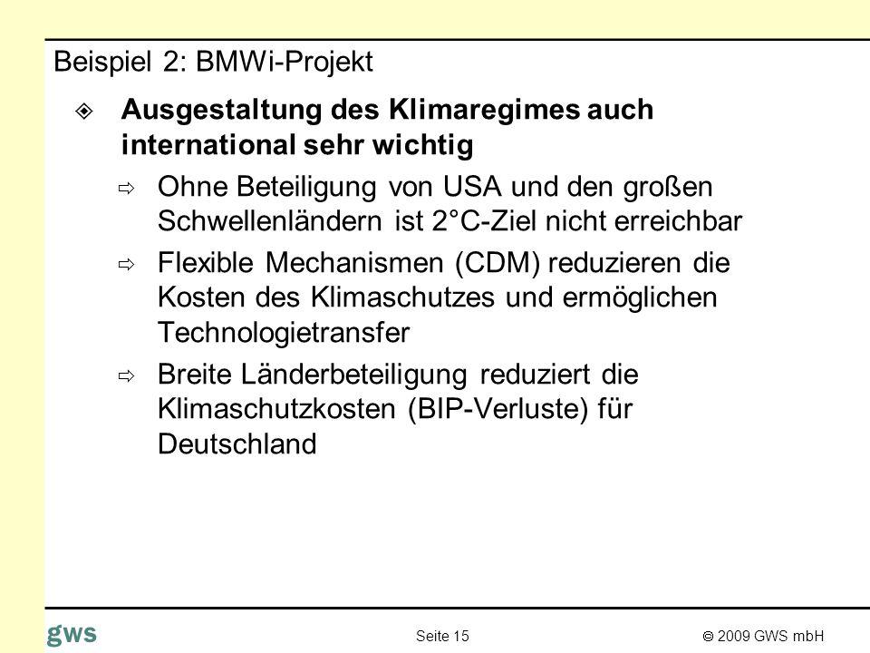 2009 GWS mbH Seite 15 gws Beispiel 2: BMWi-Projekt Ausgestaltung des Klimaregimes auch international sehr wichtig Ohne Beteiligung von USA und den gro