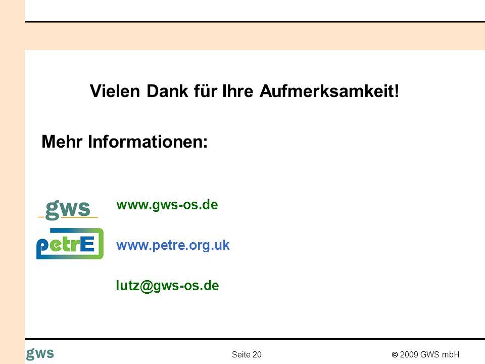 2009 GWS mbH Seite 20 gws Vielen Dank für Ihre Aufmerksamkeit! Mehr Informationen: www.gws-os.de www.petre.org.uk lutz@gws-os.de