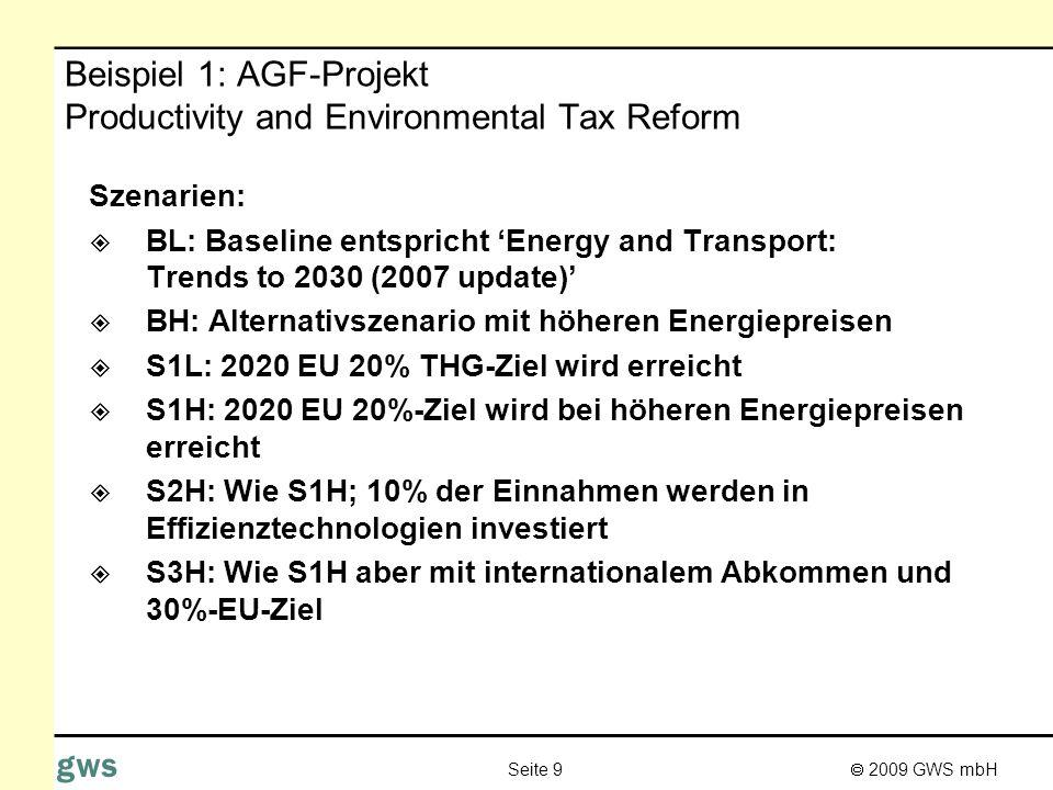 2009 GWS mbH Seite 9 gws Beispiel 1: AGF-Projekt Productivity and Environmental Tax Reform Szenarien: BL: Baseline entspricht Energy and Transport: Tr
