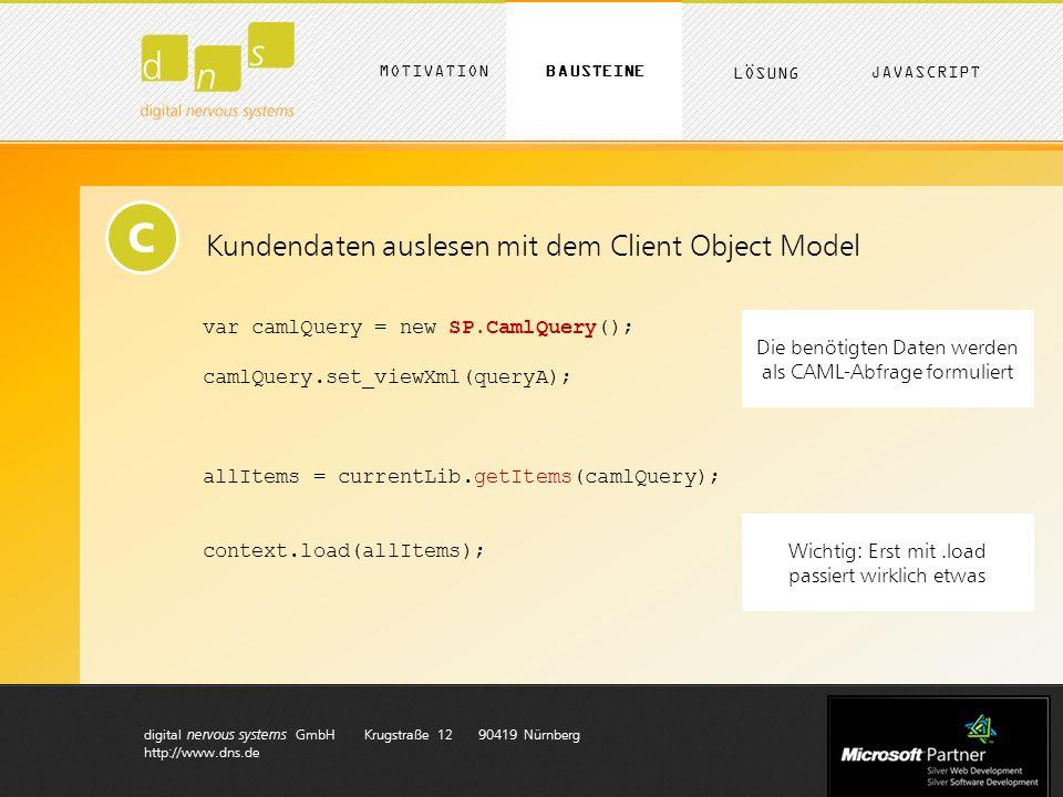 digital nervous systems GmbH Krugstraße 12 90419 Nürnberg http://www.dns.de C Kundendaten auslesen mit dem Client Object Model var camlQuery = new SP.CamlQuery(); camlQuery.set_viewXml(queryA); allItems = currentLib.getItems(camlQuery); context.load(allItems); Die benötigten Daten werden als CAML-Abfrage formuliert Wichtig: Erst mit.load passiert wirklich etwas MOTIVATION LÖSUNG BAUSTEINE JAVASCRIPT