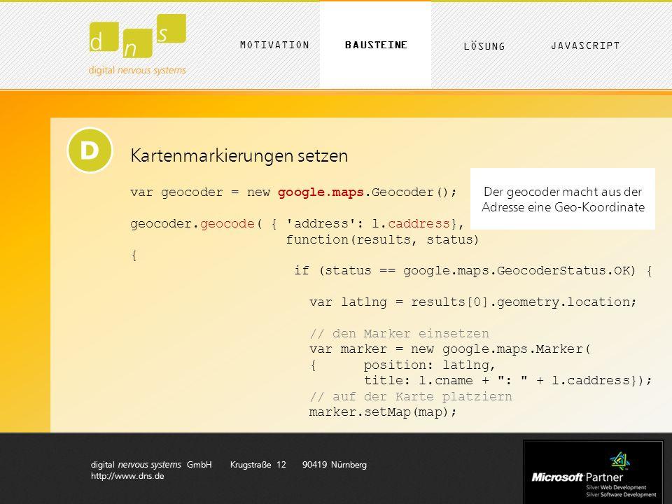digital nervous systems GmbH Krugstraße 12 90419 Nürnberg http://www.dns.de D Kartenmarkierungen setzen var geocoder = new google.maps.Geocoder(); geocoder.geocode( { address : l.caddress}, function(results, status) { if (status == google.maps.GeocoderStatus.OK) { var latlng = results[0].geometry.location; // den Marker einsetzen var marker = new google.maps.Marker( { position: latlng, title: l.cname + : + l.caddress}); // auf der Karte platziern marker.setMap(map); Der geocoder macht aus der Adresse eine Geo-Koordinate MOTIVATION LÖSUNG BAUSTEINE JAVASCRIPT