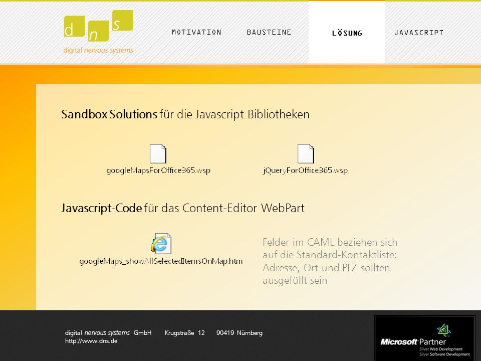 digital nervous systems GmbH Krugstraße 12 90419 Nürnberg http://www.dns.de MOTIVATION LÖSUNG BAUSTEINE JAVASCRIPT Sandbox Solutions für die Javascrip