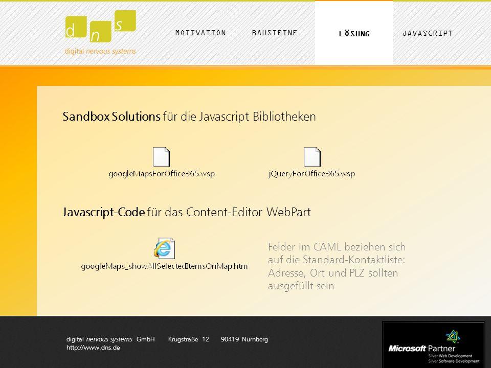 digital nervous systems GmbH Krugstraße 12 90419 Nürnberg http://www.dns.de MOTIVATION LÖSUNG BAUSTEINE JAVASCRIPT Sandbox Solutions für die Javascript Bibliotheken Javascript-Code für das Content-Editor WebPart Felder im CAML beziehen sich auf die Standard-Kontaktliste: Adresse, Ort und PLZ sollten ausgefüllt sein