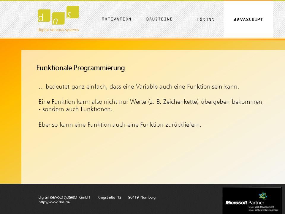 digital nervous systems GmbH Krugstraße 12 90419 Nürnberg http://www.dns.de MOTIVATION LÖSUNG BAUSTEINE JAVASCRIPT Funktionale Programmierung... bedeu
