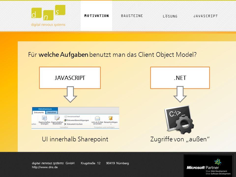 digital nervous systems GmbH Krugstraße 12 90419 Nürnberg http://www.dns.de D Karte erzeugen var myOptions = { zoom : 10, center: new google.maps.LatLng(49.50312, 11.248209999999971), mapTypeId: google.maps.MapTypeId.ROADMAP }; $( #map_canvas ).show(); // die Karte generieren map = new google.maps.Map(document.getElementById( map_canvas ), myOptions); Optionen für die Darstellung der Karte Bereich ausklappen Kartendaten von Google holen MOTIVATION LÖSUNG BAUSTEINE JAVASCRIPT