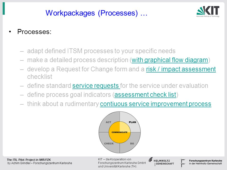 KIT – die Kooperation von Forschungszentrum Karlsruhe GmbH und Universität Karlsruhe (TH) The ITIL Pilot Project in IWR/FZK by Achim Grindler – Forschungszentrum Karlsruhe Workpackages (Processes) … Processes: –adapt defined ITSM processes to your specific needs –make a detailed process description (with graphical flow diagram)with graphical flow diagram –develop a Request for Change form and a risk / impact assessment checklistrisk / impact assessment –define standard service requests for the service under evaluationservice requests –define process goal indicators (assessment check list)assessment check list –think about a rudimentary contiuous service improvement processcontiuous service improvement process