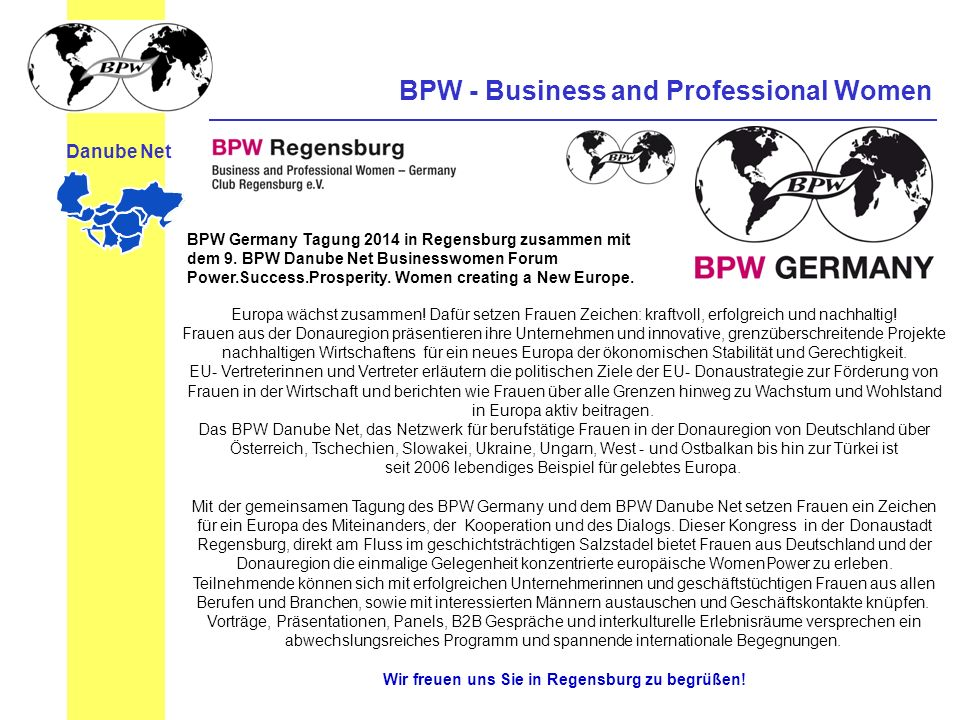 BPW - Business and Professional Women Danube Net Save the Date: 7.-8.