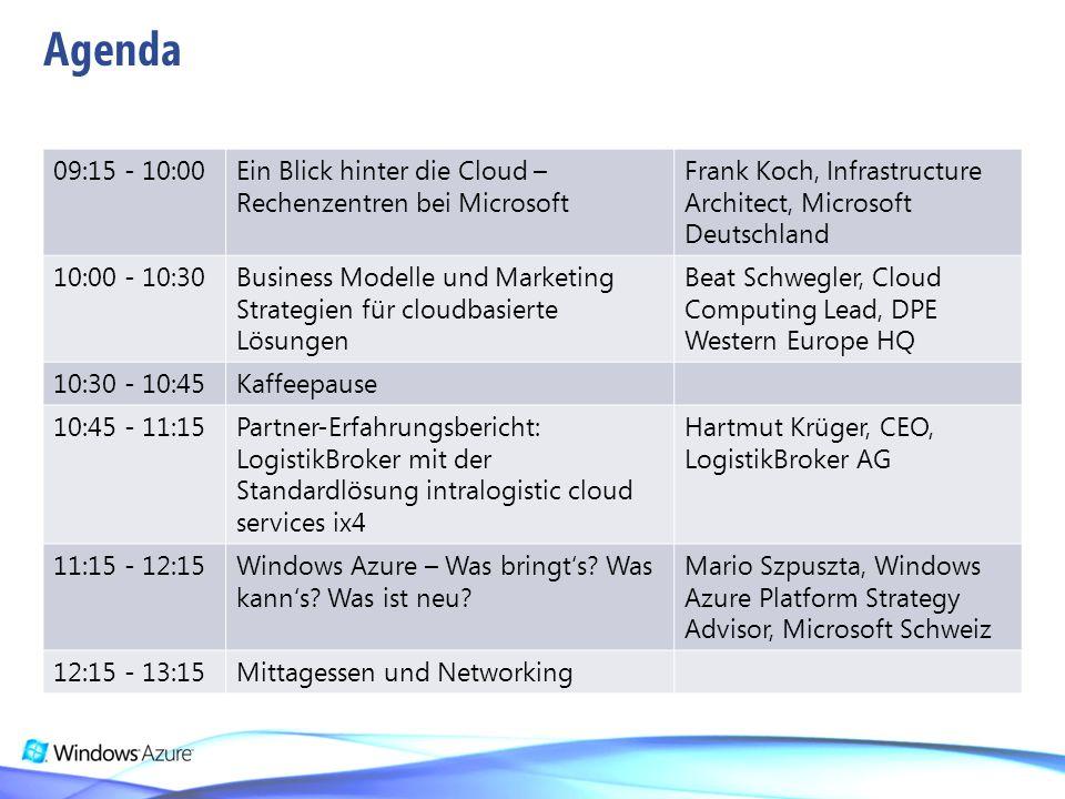 09:15 - 10:00Ein Blick hinter die Cloud – Rechenzentren bei Microsoft Frank Koch, Infrastructure Architect, Microsoft Deutschland 10:00 - 10:30Busines