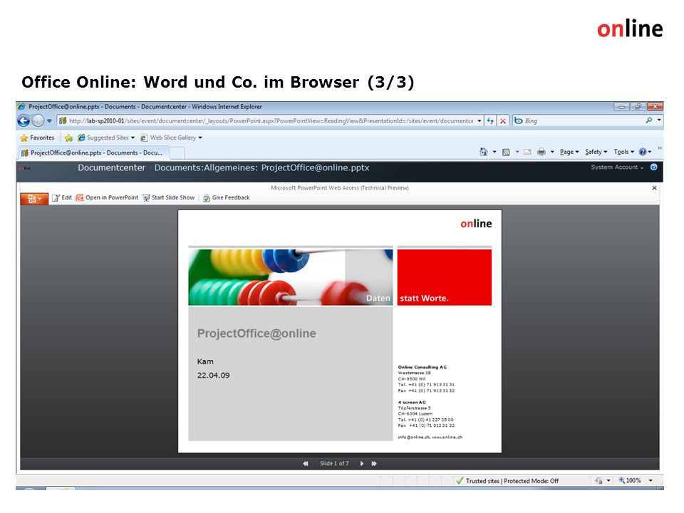 Office Online: Word und Co. im Browser (3/3) Online Group | www.online.ch10