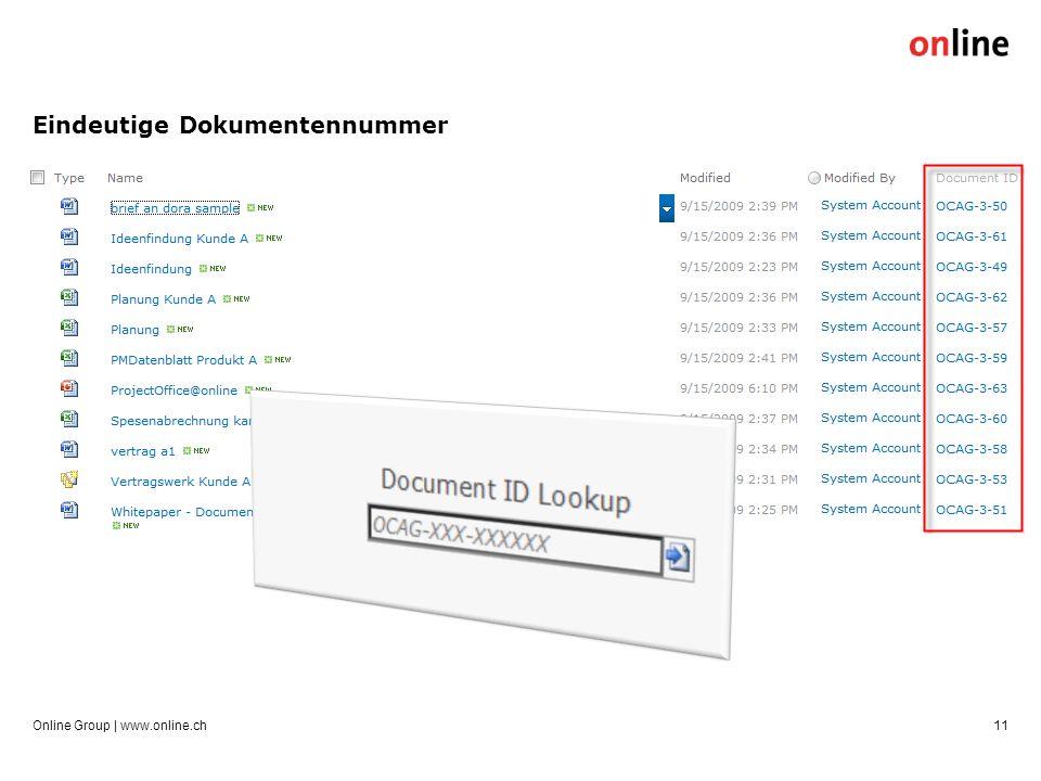 Eindeutige Dokumentennummer Online Group | www.online.ch11