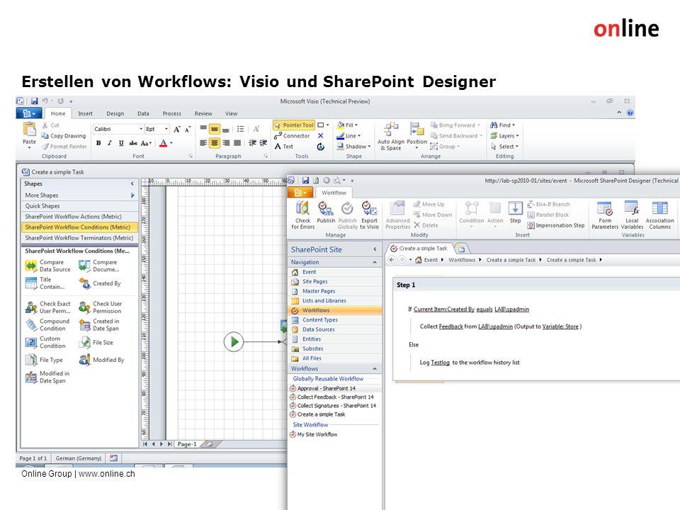 Erstellen von Workflows: Visio und SharePoint Designer Online Group | www.online.ch15