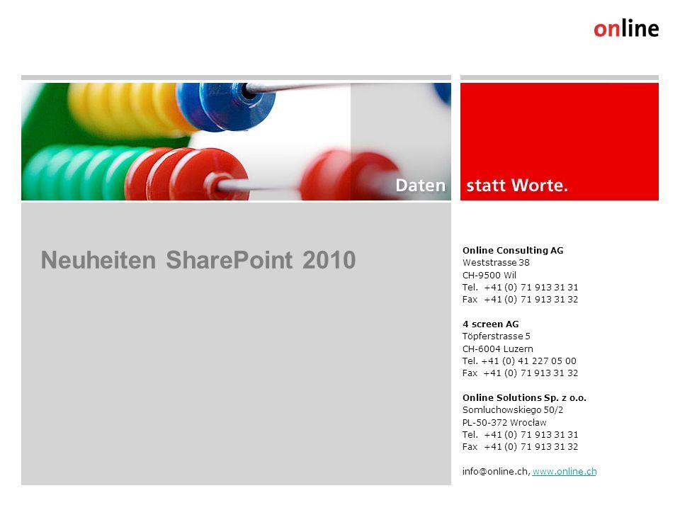 User Interface: Rich Client, Ribbon Navigation (1/2) Online Group | www.online.ch6