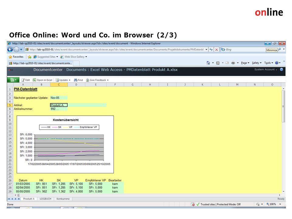 Office Online: Word und Co. im Browser (2/3) Online Group | www.online.ch9