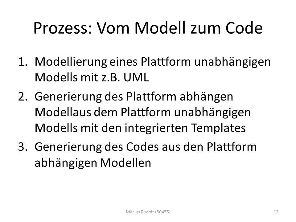 Prozess: Vom Modell zum Code 1.Modellierung eines Plattform unabhängigen Modells mit z.B.