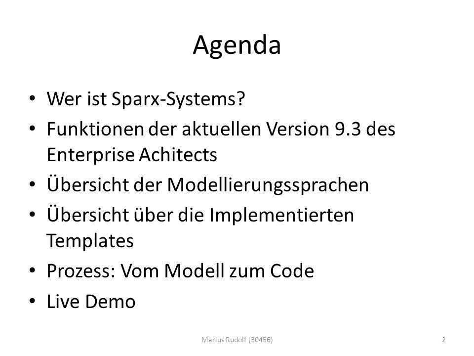 Agenda Wer ist Sparx-Systems.