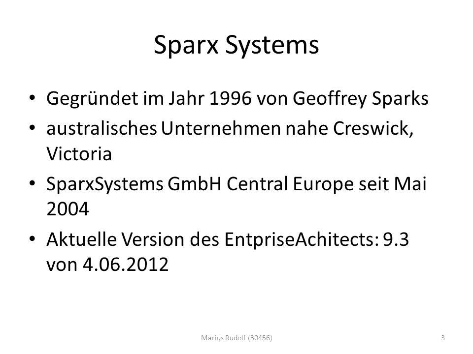 Sparx Systems Gegründet im Jahr 1996 von Geoffrey Sparks australisches Unternehmen nahe Creswick, Victoria SparxSystems GmbH Central Europe seit Mai 2004 Aktuelle Version des EntpriseAchitects: 9.3 von 4.06.2012 3Marius Rudolf (30456)
