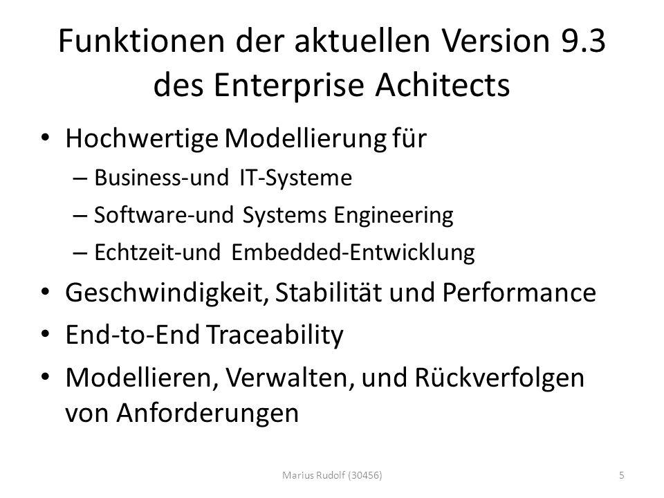 Funktionen der aktuellen Version 9.3 des Enterprise Achitects Hochwertige Modellierung für – Business-und IT-Systeme – Software-und Systems Engineering – Echtzeit-und Embedded-Entwicklung Geschwindigkeit, Stabilität und Performance End-to-End Traceability Modellieren, Verwalten, und Rückverfolgen von Anforderungen 5Marius Rudolf (30456)