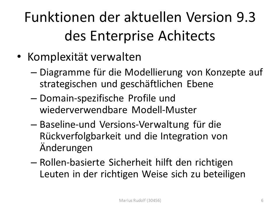 Funktionen der aktuellen Version 9.3 des Enterprise Achitects Komplexität verwalten – Diagramme für die Modellierung von Konzepte auf strategischen und geschäftlichen Ebene – Domain-spezifische Profile und wiederverwendbare Modell-Muster – Baseline-und Versions-Verwaltung für die Rückverfolgbarkeit und die Integration von Änderungen – Rollen-basierte Sicherheit hilft den richtigen Leuten in der richtigen Weise sich zu beteiligen 6Marius Rudolf (30456)