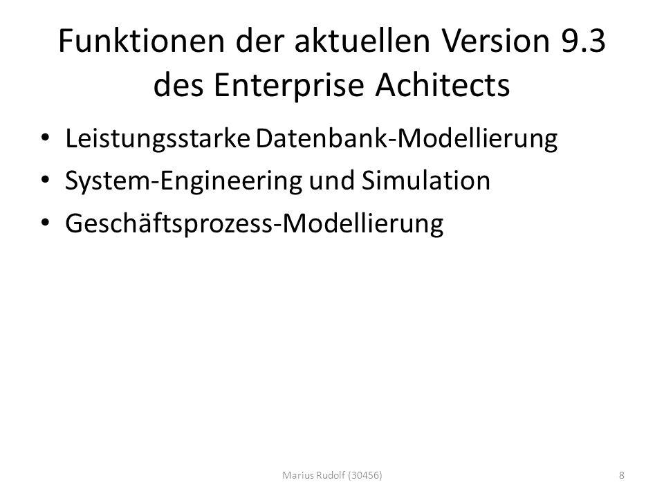 Funktionen der aktuellen Version 9.3 des Enterprise Achitects Leistungsstarke Datenbank-Modellierung System-Engineering und Simulation Geschäftsprozess-Modellierung 8Marius Rudolf (30456)