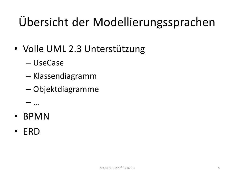 Übersicht der Modellierungssprachen Volle UML 2.3 Unterstützung – UseCase – Klassendiagramm – Objektdiagramme – … BPMN ERD 9Marius Rudolf (30456)