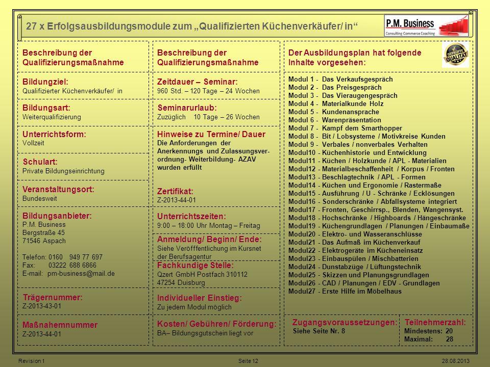 27 x Erfolgsausbildungsmodule zum Qualifizierten Küchenverkäufer/ in Beschreibung der Qualifizierungsmaßnahme Bildungziel: Qualifizierter Küchenverkäu