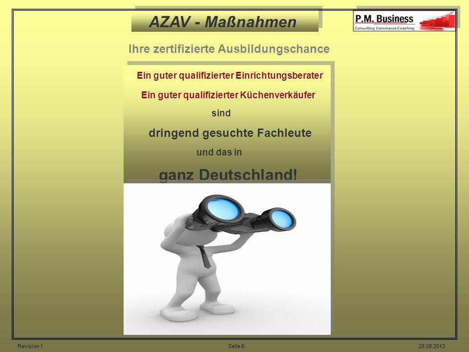AZAV - Maßnahmen Ihre zertifizierte Ausbildungschance Ein guter qualifizierter Einrichtungsberater Ein guter qualifizierter Küchenverkäufer sind dring