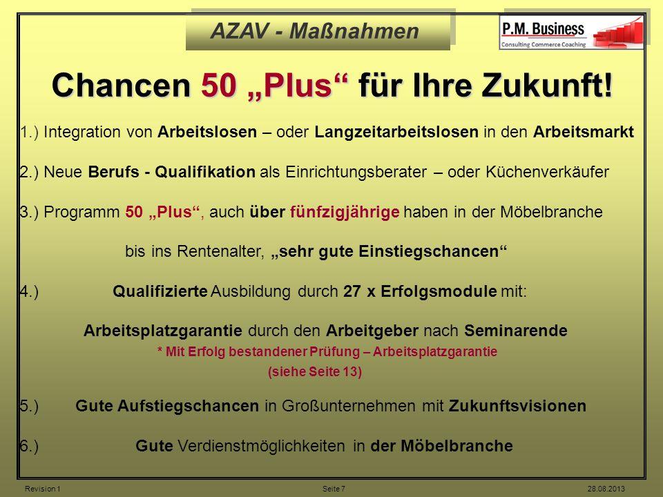 AZAV - Maßnahmen Chancen 50 Plus für Ihre Zukunft! 1.) Integration von Arbeitslosen – oder Langzeitarbeitslosen in den Arbeitsmarkt 2.) Neue Berufs -