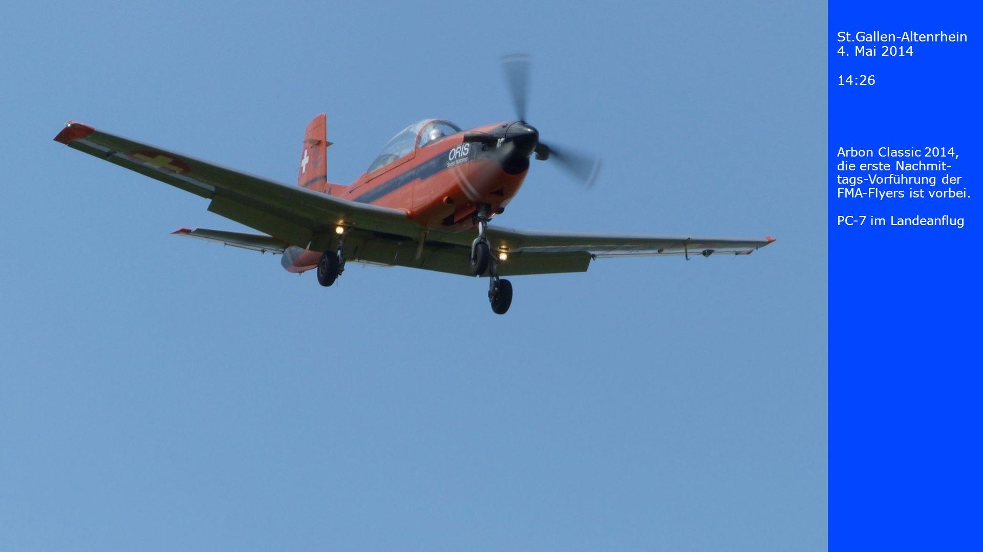 St.Gallen-Altenrhein 4. Mai 2014 14:27 Pilatus P-3 im Landeanflug