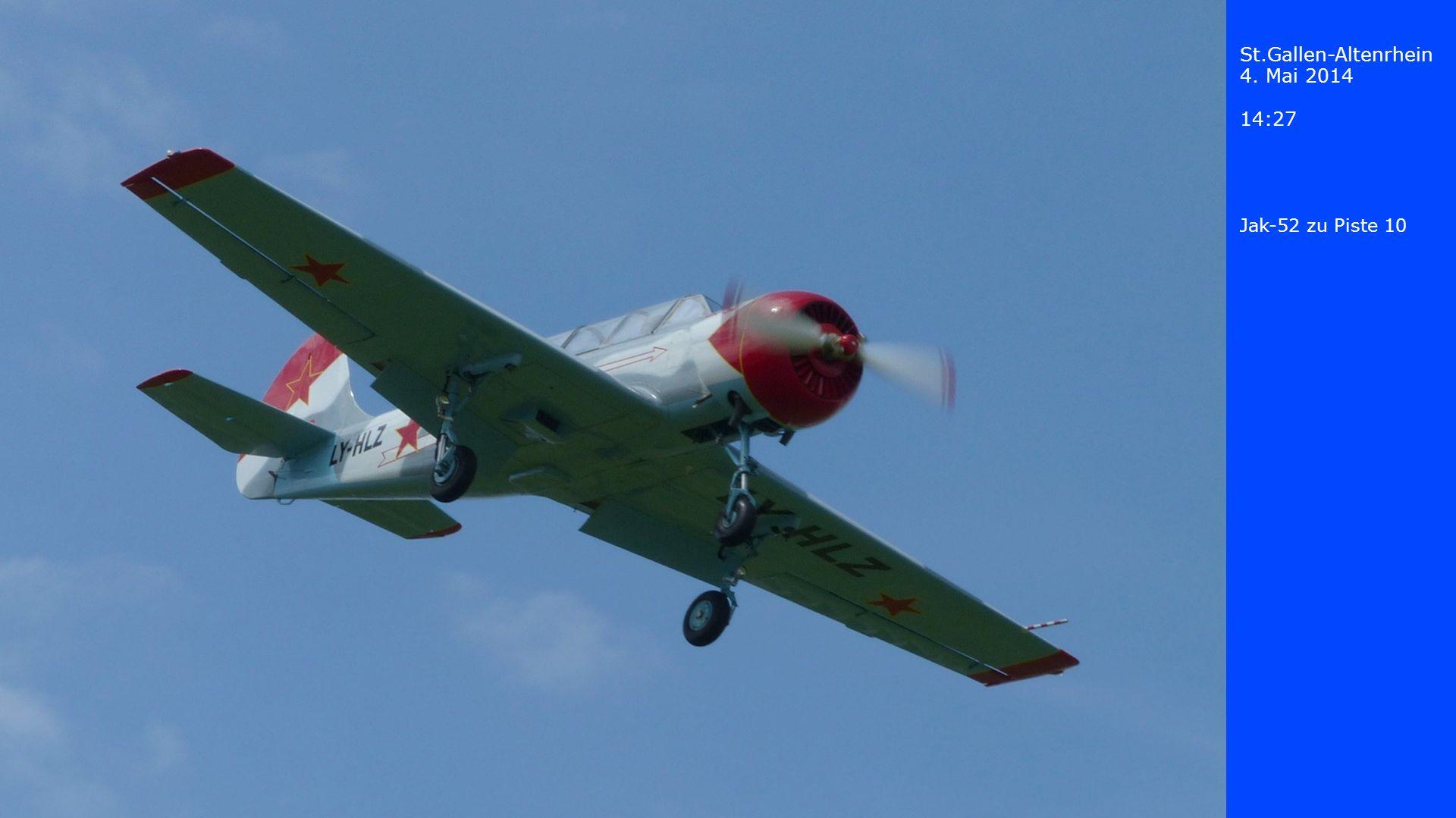 St.Gallen-Altenrhein 4. Mai 2014 14:27 Jak-52 zu Piste 10