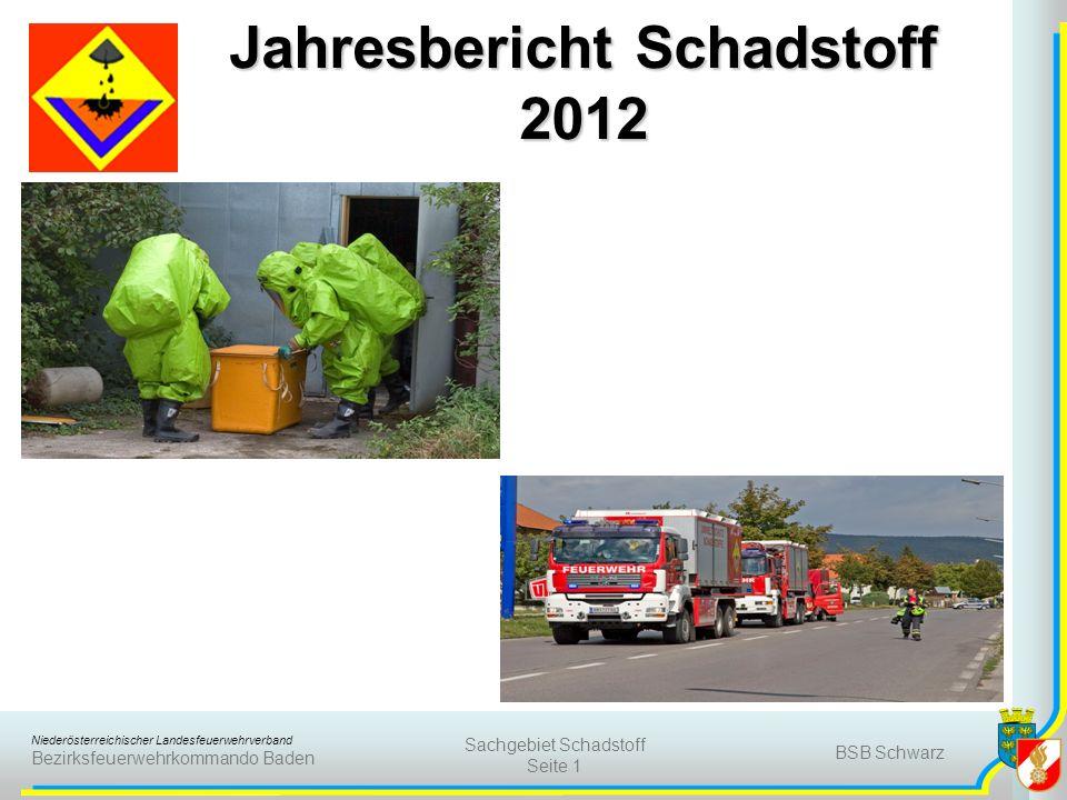 Niederösterreichischer Landesfeuerwehrverband Bezirksfeuerwehrkommando Baden BSB Schwarz Sachgebiet Schadstoff Seite 1 Jahresbericht Schadstoff 2012