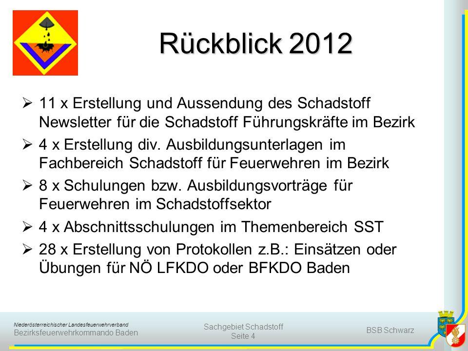 Niederösterreichischer Landesfeuerwehrverband Bezirksfeuerwehrkommando Baden Rückblick 2012 11 x Erstellung und Aussendung des Schadstoff Newsletter für die Schadstoff Führungskräfte im Bezirk 4 x Erstellung div.