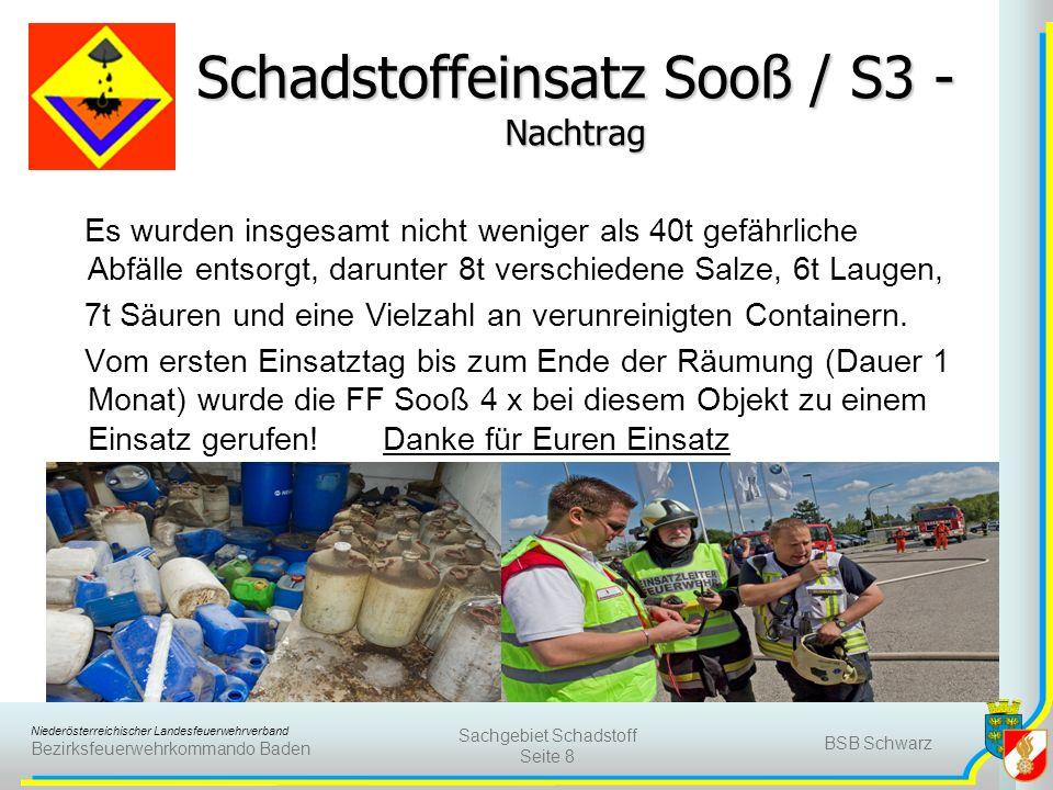 Niederösterreichischer Landesfeuerwehrverband Bezirksfeuerwehrkommando Baden Schadstoffeinsatz Sooß / S3 - Nachtrag Es wurden insgesamt nicht weniger als 40t gefährliche Abfälle entsorgt, darunter 8t verschiedene Salze, 6t Laugen, 7t Säuren und eine Vielzahl an verunreinigten Containern.