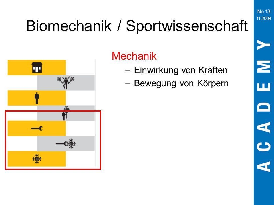 Biomechanik / Sportwissenschaft Mechanik –Einwirkung von Kräften –Bewegung von Körpern
