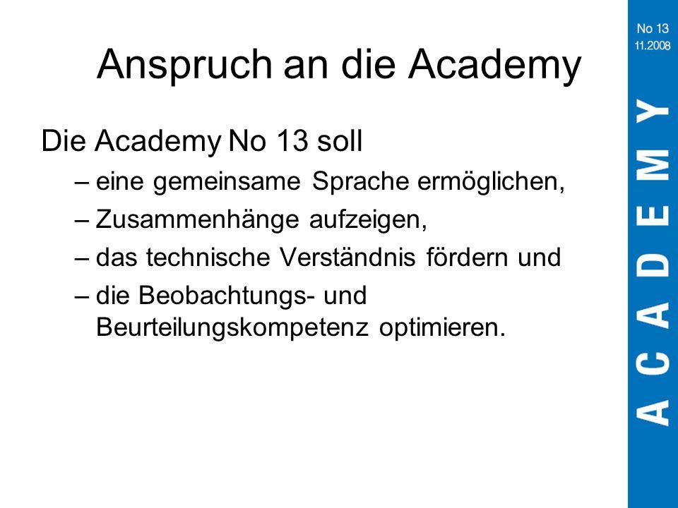 Anspruch an die Academy Die Academy No 13 soll –eine gemeinsame Sprache ermöglichen, –Zusammenhänge aufzeigen, –das technische Verständnis fördern und