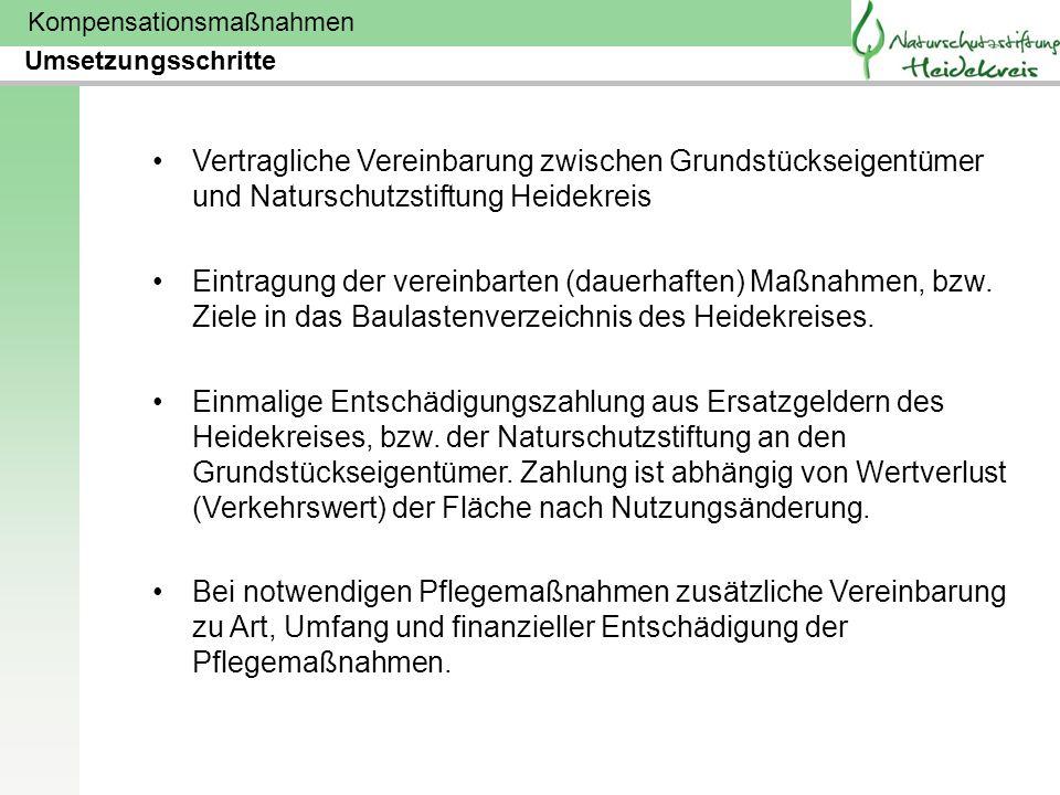 Kompensationsmaßnahmen Vertragliche Vereinbarung zwischen Grundstückseigentümer und Naturschutzstiftung Heidekreis Eintragung der vereinbarten (dauerh