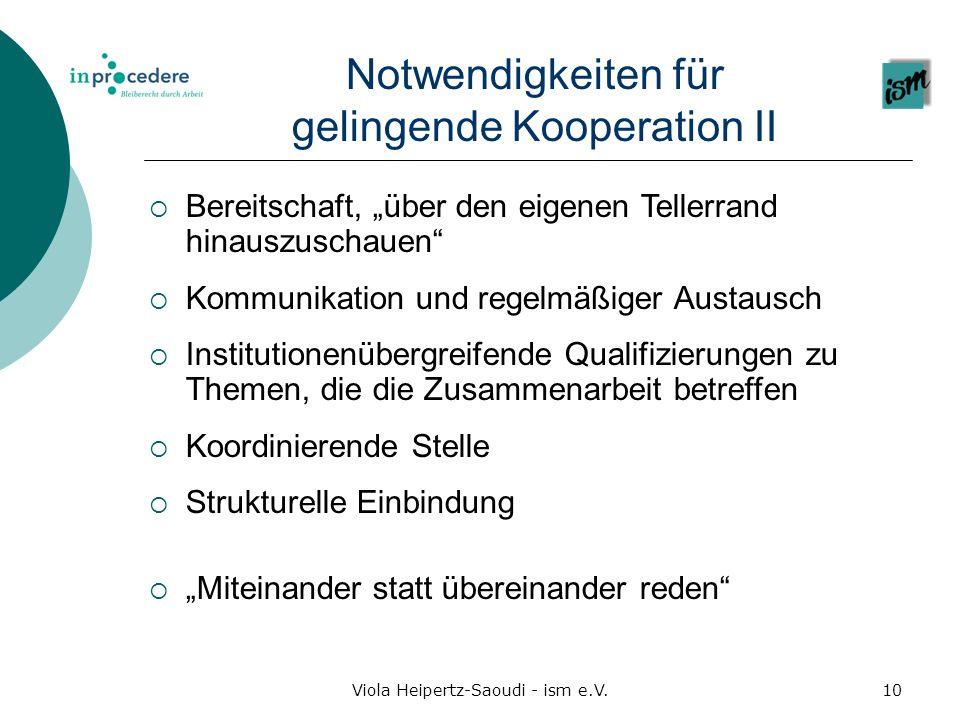 Viola Heipertz-Saoudi - ism e.V.10 Notwendigkeiten für gelingende Kooperation II Bereitschaft, über den eigenen Tellerrand hinauszuschauen Kommunikati
