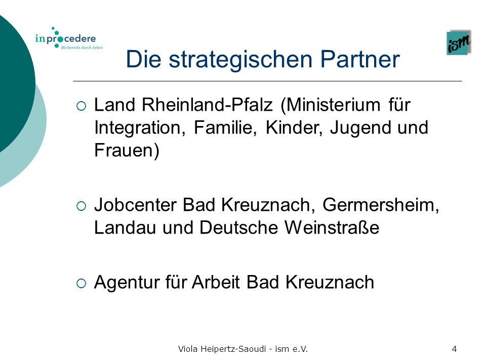 Die strategischen Partner Land Rheinland-Pfalz (Ministerium für Integration, Familie, Kinder, Jugend und Frauen) Jobcenter Bad Kreuznach, Germersheim,