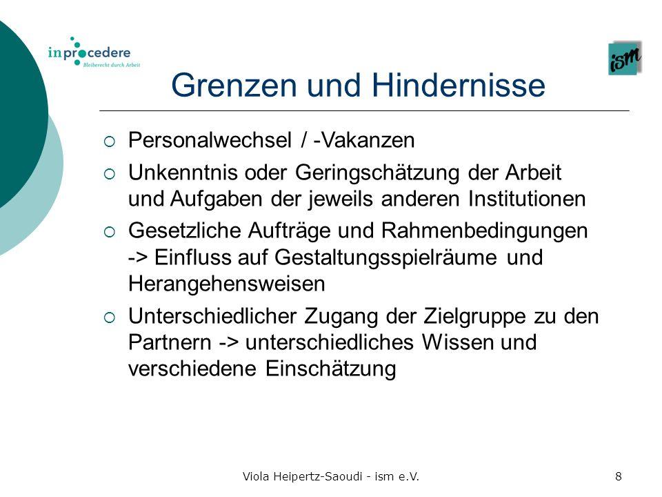 Viola Heipertz-Saoudi - ism e.V.8 Grenzen und Hindernisse Personalwechsel / -Vakanzen Unkenntnis oder Geringschätzung der Arbeit und Aufgaben der jewe