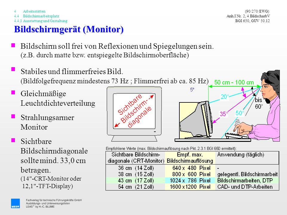 Bildschirmgerät (Monitor) (90/270/EWG) Anh.I Nr. 2, 4 BildscharbV BGI 650, GUV 50.12 Stabiles und flimmerfreies Bild. (Bildfolgefrequenz mindestens 73
