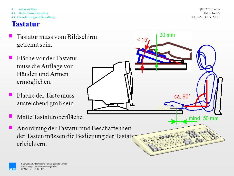 Tastatur (90/270/EWG) BildscharbV BGI 650, GUV 50.12 Fläche vor der Tastatur muss die Auflage von Händen und Armen ermöglichen. Fläche der Taste muss