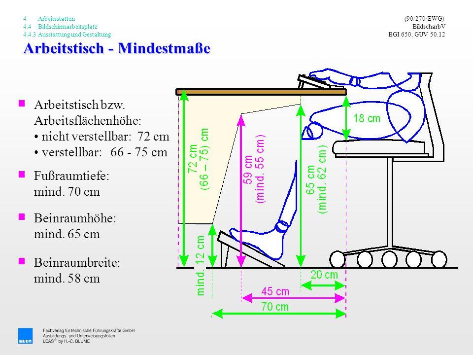 Arbeitstisch - Mindestmaße (90/270/EWG) BildscharbV BGI 650, GUV 50.12 Arbeitstisch bzw. Arbeitsflächenhöhe: nicht verstellbar: 72 cm verstellbar: 66