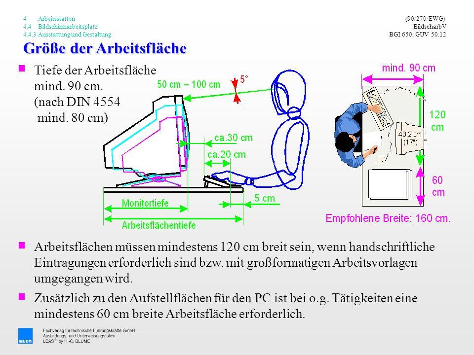 Größe der Arbeitsfläche (90/270/EWG) BildscharbV BGI 650, GUV 50.12 Tiefe der Arbeitsfläche mind. 90 cm. (nach DIN 4554 mind. 80 cm) 4 Arbeitsstätten