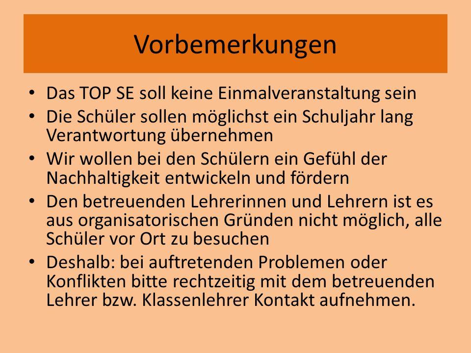 Organisation an der Realschule Güglingen Das TOP SE wird in der Klassenstufe 8 durchgeführt Leitfächer für das TOP SE ist das Fach Religion- bzw.