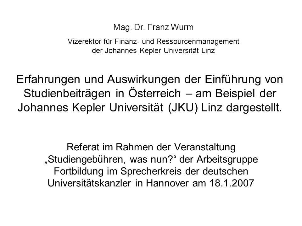Erfahrungen und Auswirkungen der Einführung von Studienbeiträgen in Österreich – am Beispiel der Johannes Kepler Universität (JKU) Linz dargestellt.