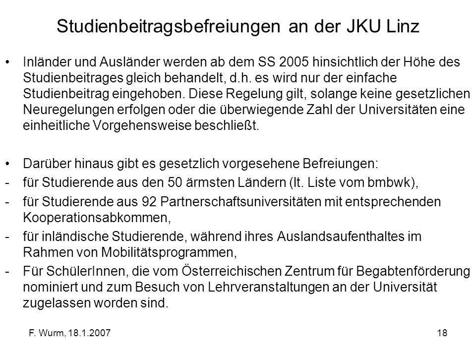 F. Wurm, 18.1.200718 Studienbeitragsbefreiungen an der JKU Linz Inländer und Ausländer werden ab dem SS 2005 hinsichtlich der Höhe des Studienbeitrage