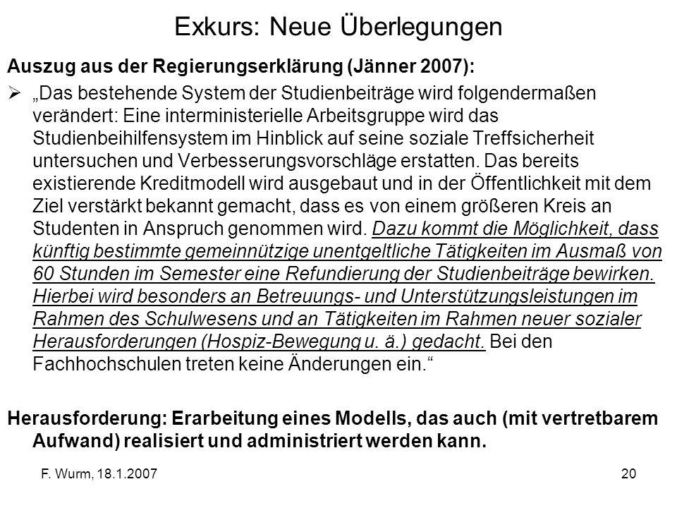F. Wurm, 18.1.200720 Exkurs: Neue Überlegungen Auszug aus der Regierungserklärung (Jänner 2007): Das bestehende System der Studienbeiträge wird folgen
