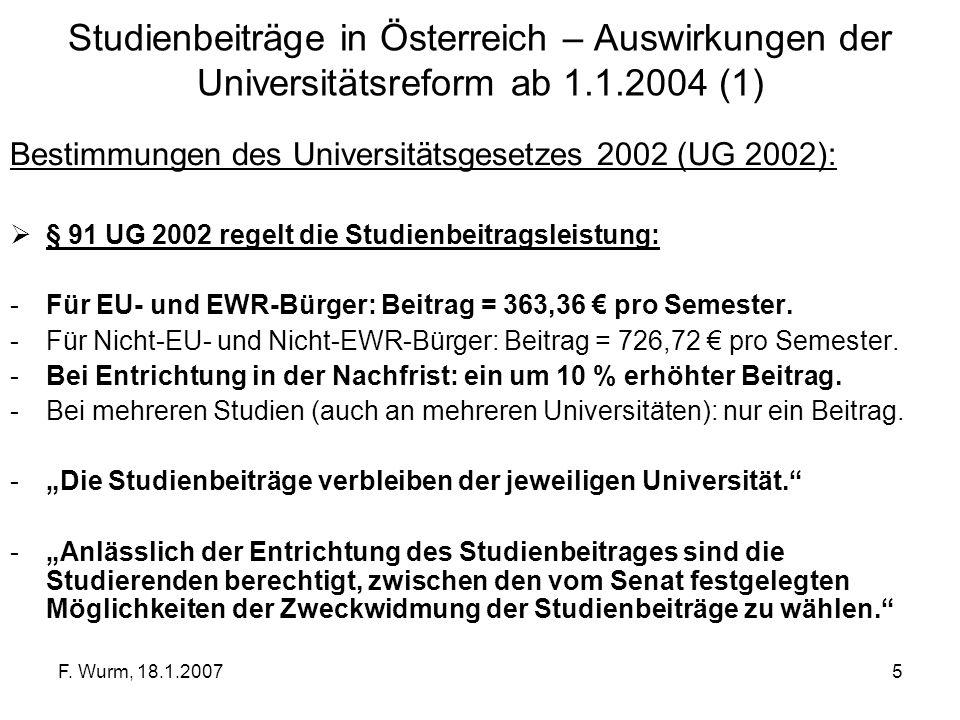 F. Wurm, 18.1.20075 Studienbeiträge in Österreich – Auswirkungen der Universitätsreform ab 1.1.2004 (1) Bestimmungen des Universitätsgesetzes 2002 (UG