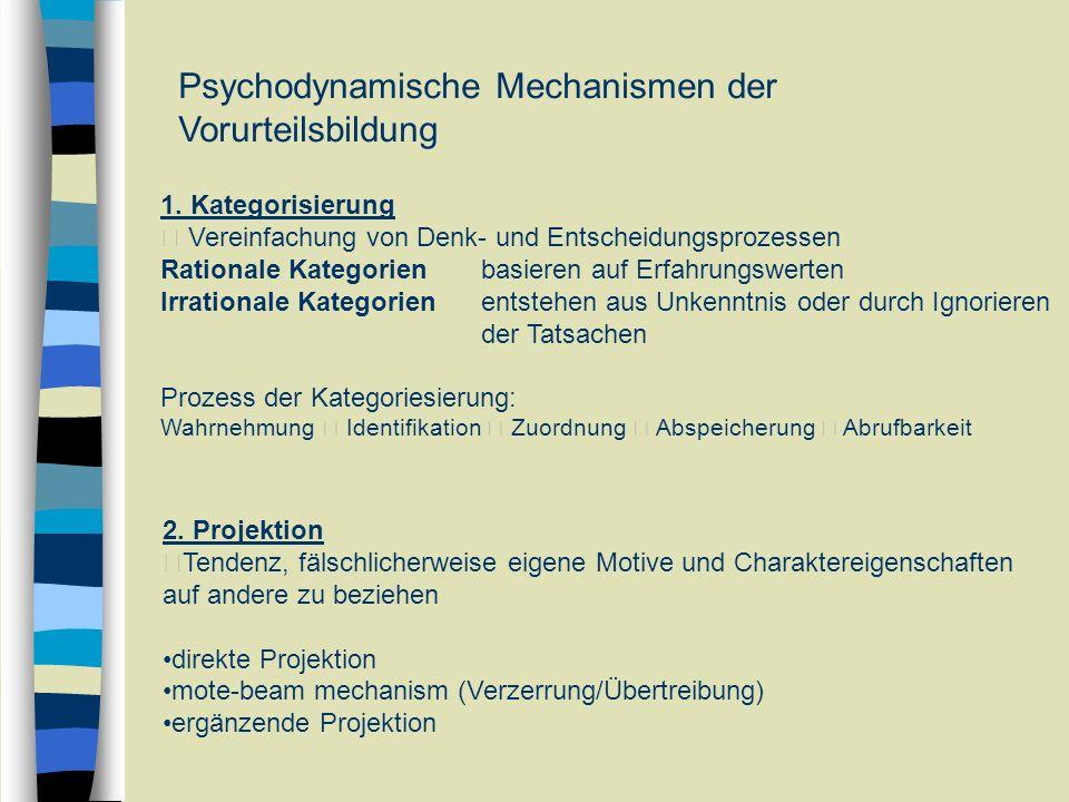 Psychodynamische Mechanismen der Vorurteilsbildung 1. Kategorisierung Vereinfachung von Denk- und Entscheidungsprozessen Rationale Kategorienbasieren