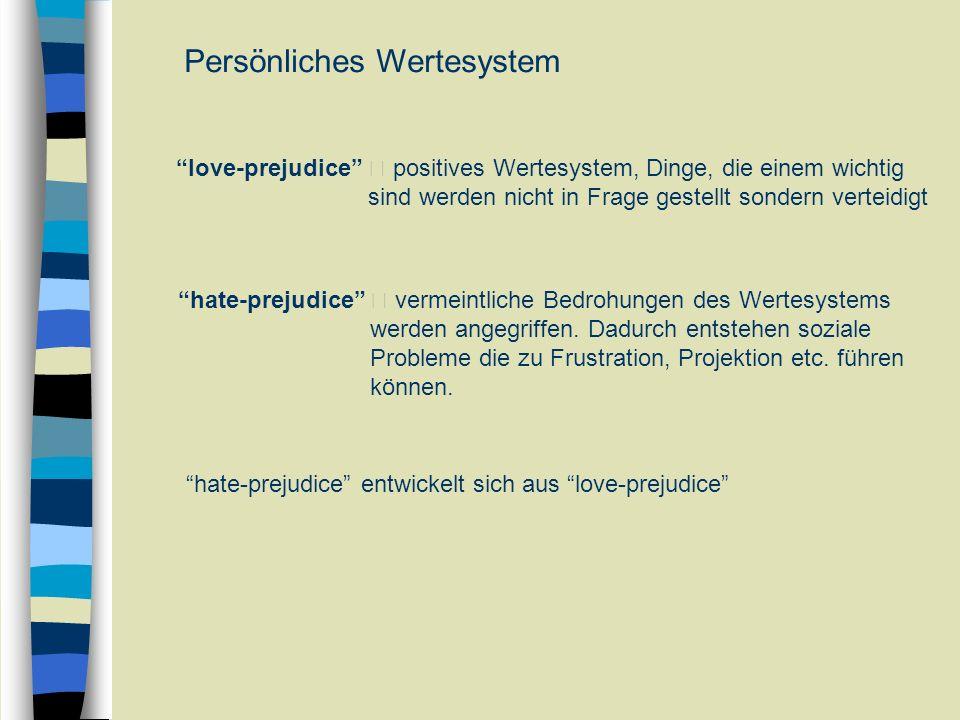 Persönliches Wertesystem love-prejudice positives Wertesystem, Dinge, die einem wichtig sind werden nicht in Frage gestellt sondern verteidigt hate-prejudice vermeintliche Bedrohungen des Wertesystems werden angegriffen.