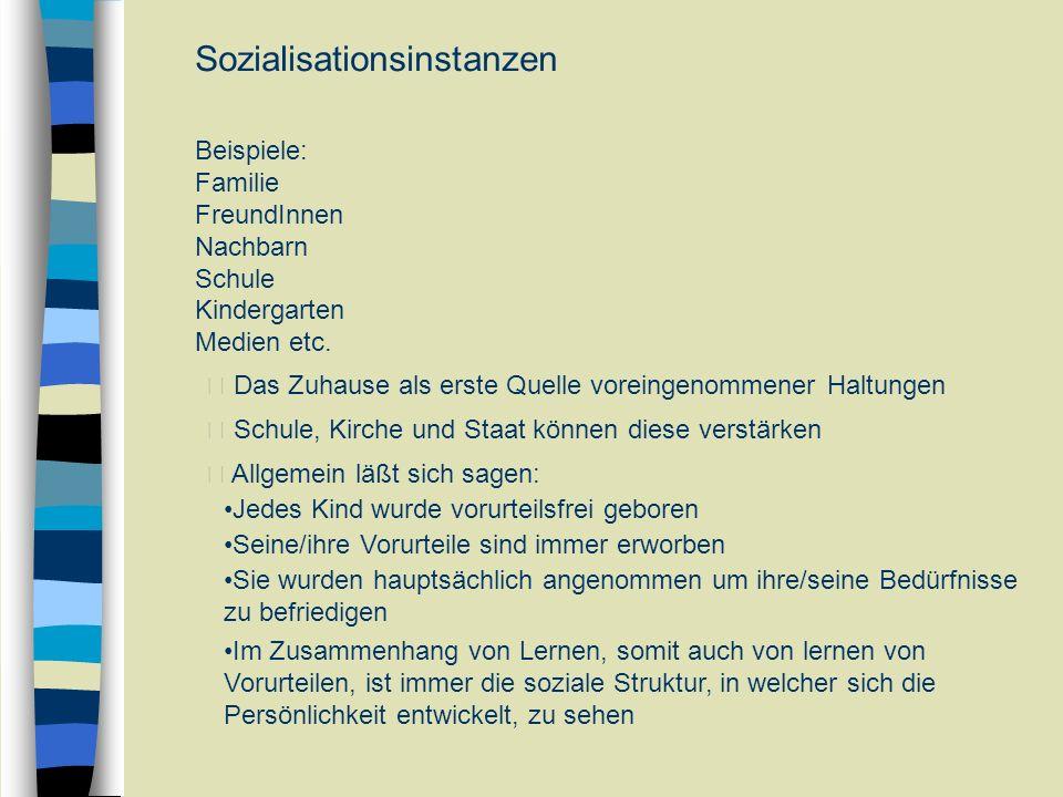 Sozialisationsinstanzen Beispiele: Familie FreundInnen Nachbarn Schule Kindergarten Medien etc.